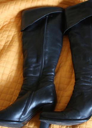 Кожаные зимние сапоги ботфорты на цигейке ellenka