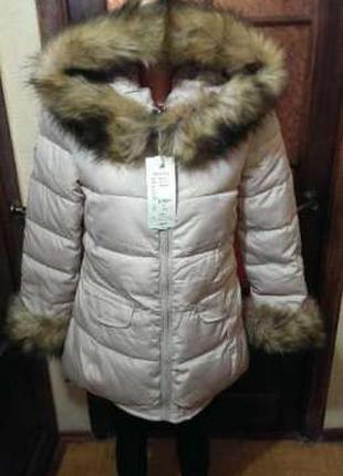 Новая зимняя куртка пуховик бежевого цвета отличного качества!