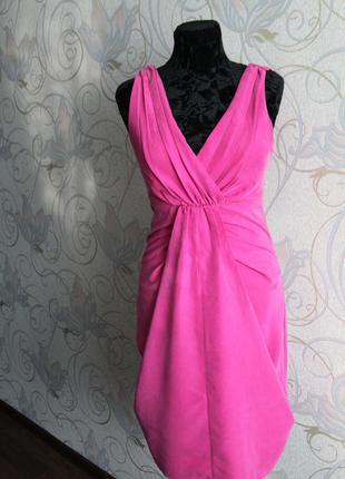 Розовое коктейльное платье вечернее платье цвета фуксии платье миди малиновое