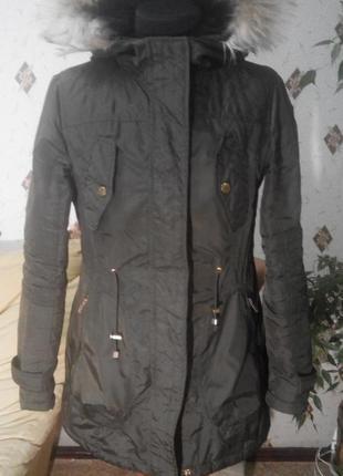 Куртка парка с водоотталкивающим покрытием, на утеплителе, с меховым капюшоном