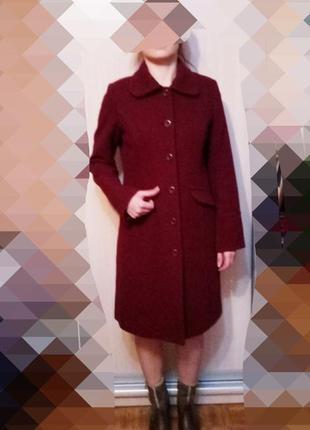 Бордовое пальто h&m