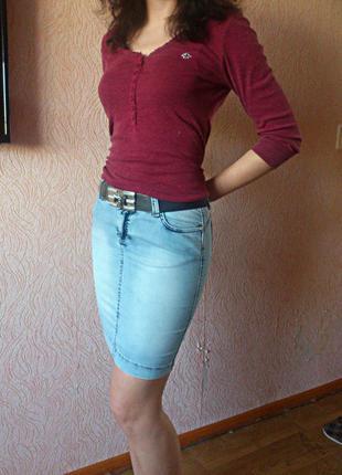 Юбка-карандаш из легкого джинса