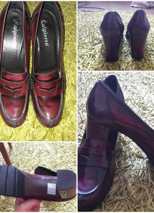Шикарные удобные туфли из лакированной кожи цвета марсала 40  разм