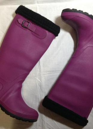 Женские итальянские матовые резиновые утепленные сапоги