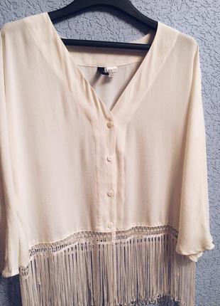 Блузка бохо,блузка с кистями,блуза,блузочка белая,короткая блузка