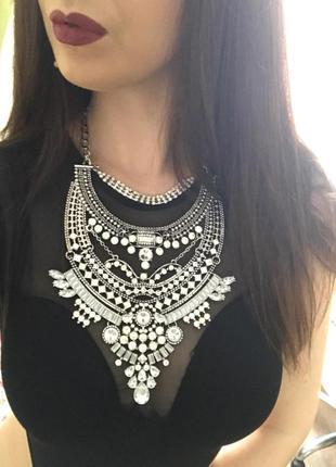 Металлическое массивное колье, ожерелье, бижутерия, подвеска, украшение на шею zara бохо