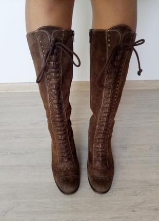 Замшевые высокие сапоги на каблуке на шнуровке и молнии, 37 размер, инди хиппи сапожки
