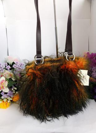 Эпотажная эксклюзивная дизайнерская сумка maurizio creazioni, италия, натуральная кожа мех ламы