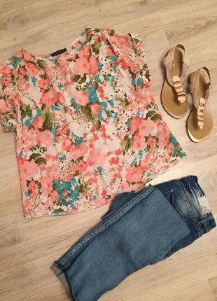 Блуза вискозная в цветочный принт