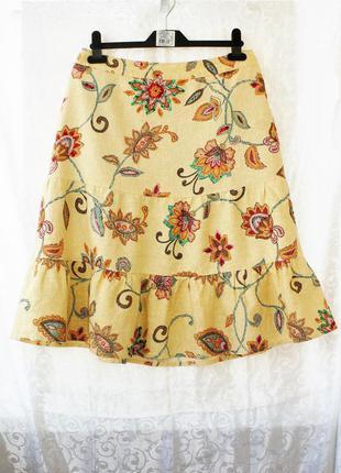 Чудесная юбка на лето 50% лён, 50% вискоза