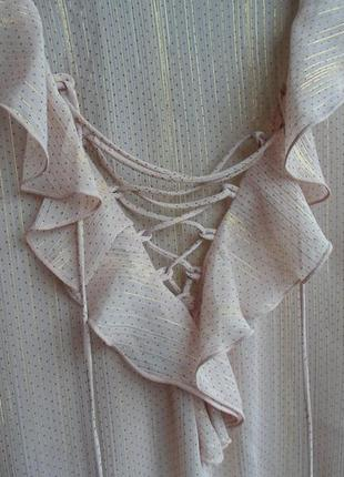 Полупрозрачная бежево-золотистая блуза-боди