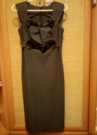 Элегатное серое платье