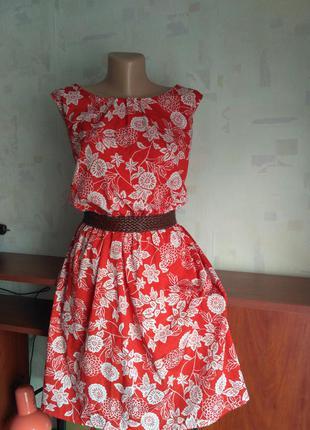 Красивое яркое платье на резинке inspire, большой размер батал, 54-56, цветочный принт
