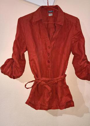 Стильная льняная терракотовая блуза