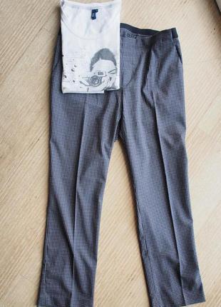 Актуальние штаны, брюки uniqlo до щиколотки, укороченные, размер xl в клетку