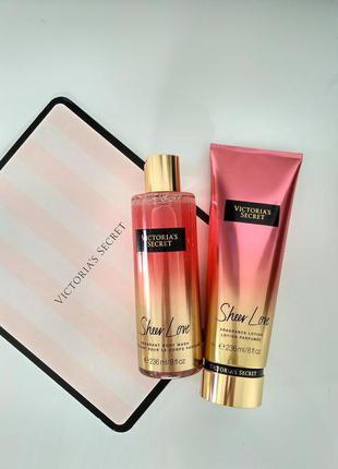 Набор парфюмированый уход для тела victorias secret. лосьон для тела, гель для душа
