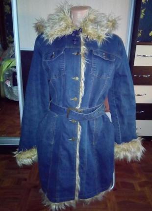 Джинсовое пальто с мехом утепленное р л