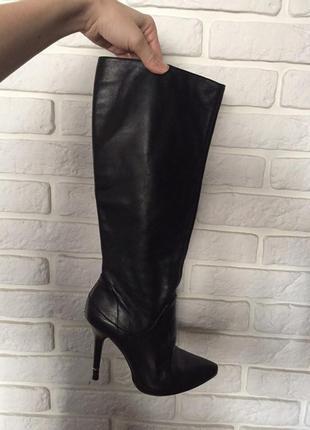 Сапоги сапожки черные кожаные высокие на каблуке bronx 38р. zara asos braska aldo