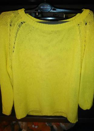 Оригинальный вязанный свитер (сетка)
