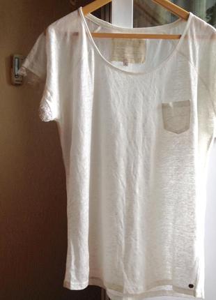 Новая брендовая удлиненная футболка из льна garcia jeans, xxl, 54, uk 20