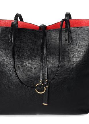 Модная сумка с клатчем черная