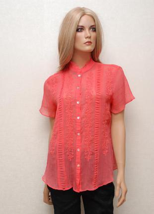 Шифоновая коралловая блуза от joanna hope