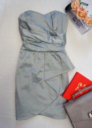 Коктейльное платье бюстье мятно-ментолового цвета miss selfridge