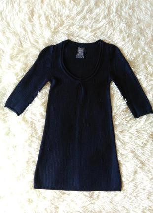 Новое платье bershka вязаное темно синие туника свитер