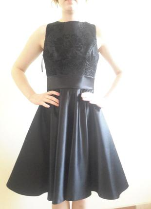 Черное вечернее коктельное выпускное платье с корсетом