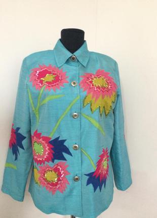 Якрий пиджак с вишивкой и апликацией indigo moon