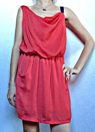 Коралловое платье с карманами размер 40