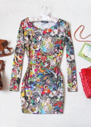 Платье от glamour babe в прикольный принт, размер 38(м)/40(l), см. замеры