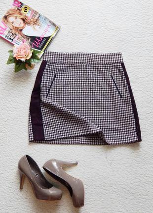 Стильна юбка zara в трендовый  принт «гусиная лапка»