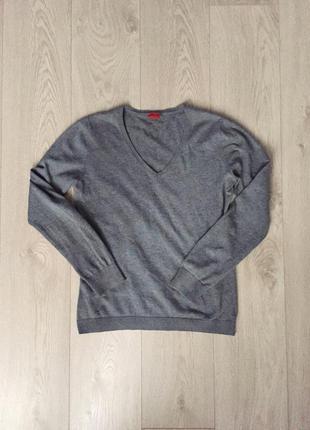 Базовый серый джемпер esprit v-образный вырез