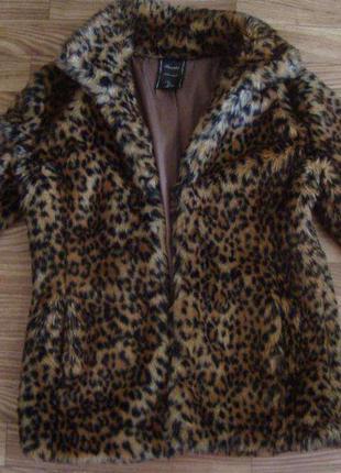 Леопардовый полушубок меховой+леопард сумка в подарок!!бренд bershka