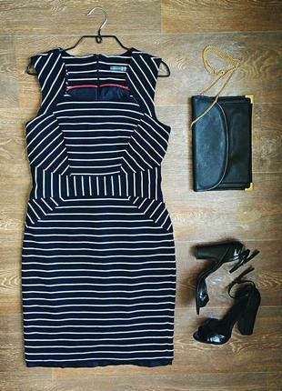 Шикарное платье от бренда atmosphere в синюю и белую полоску приталеное размер m-l
