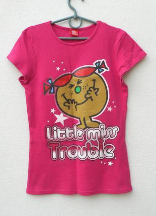 Летняя  трикотажная футболка с принтом  с надписьюlittle miss