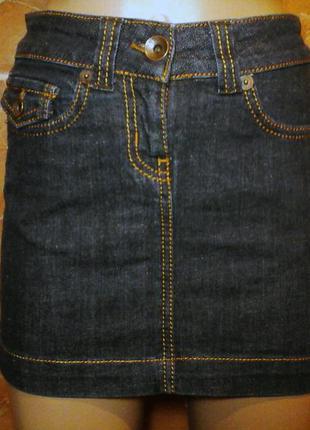 Джинсовая черная мини юбка футляр
