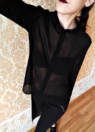Шикарная полупрозрачная блуза с длинным шлейфом от h&m