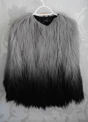 Шубка из эко ламы с градиентом