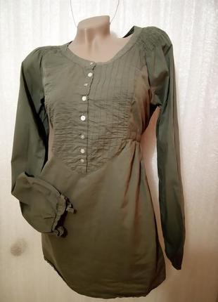 Рубашка-платье оливка