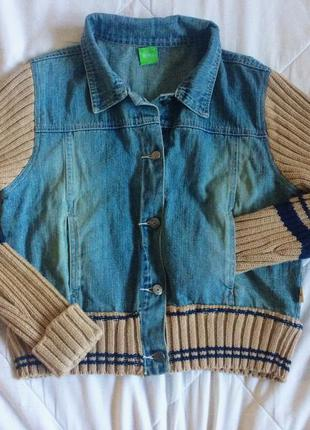 Джинсовая куртка/бомбер с вязаными рукавами оригинал! hugo boss