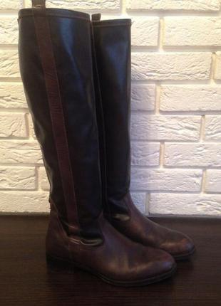 Кожаные ботфорты коричневого цвета от chester. произведены в италии. размер 39.