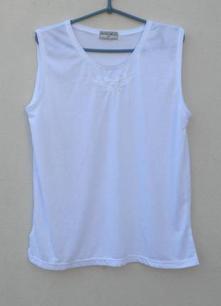 Трикотажная нарядная блузка -вышиванка без рукавов  mode mille