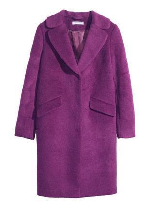 Неймовірне яскраве пальто бойфренд  h&m wool blend