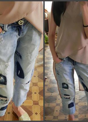 Ультра модные декорированные  укороченные  джинсы,штаны ( см.замеры)