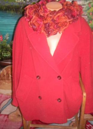 Marks&spencer фирменное пальто-бойфренд р 48-52, 100% шерсть ламы