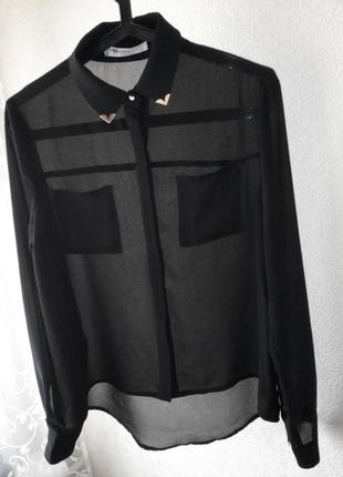 Блуза, рубашка с металлическими уголками на воротнике и манжетах