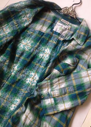 Рубашка в зеленую клетку с травкой