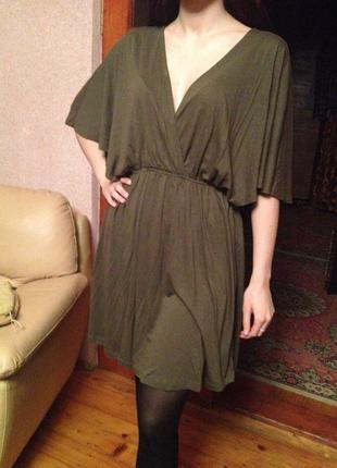 Стильное платье h&m цвета хаки ,m